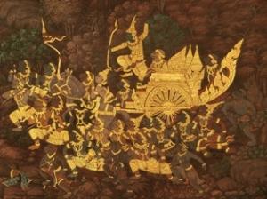 Gold leaf on Ramayana mural at Grand Palace, Bangkok