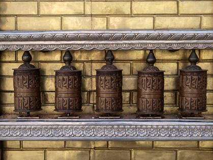 Prayer wheels, Swayambunath Temple