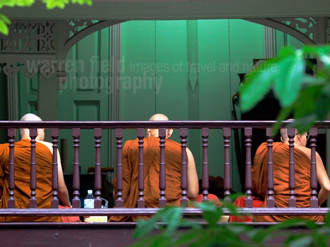 Monks at breakfast, Wat Bowon on Macha Bucha Dayy (Feb 25th 2013), Bangkok, Thailand