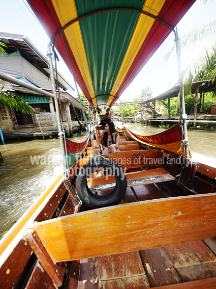 View from the longtail boat along Khlong Mon, Thonburi canals, Bangkok.